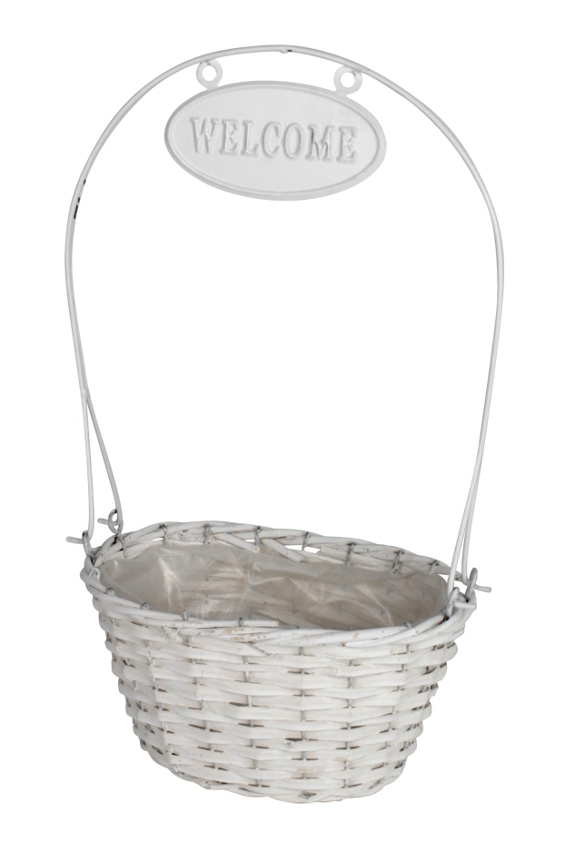 Mand ovaal Welcome wit hoogte 41 cm