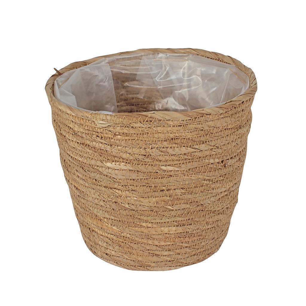 Mand van stro met plastic aan de binnenkant S