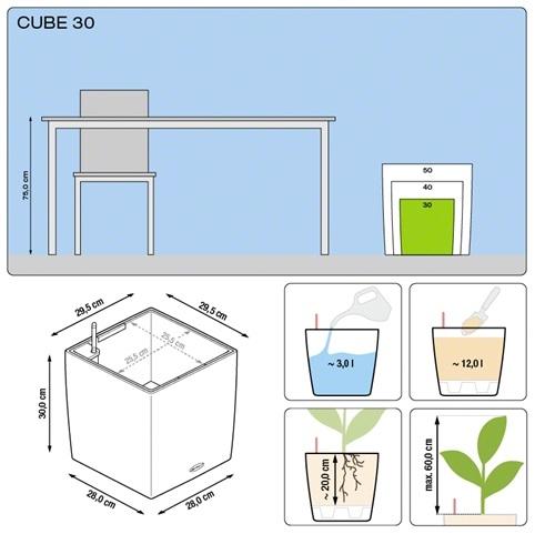 Plantenbak Lechuza Cube 30 diverse kleuren All-in-one set