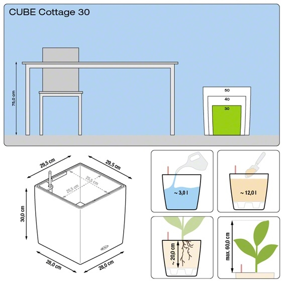 Plantenbak Lechuza Cube Cottage 30 All-in-one set