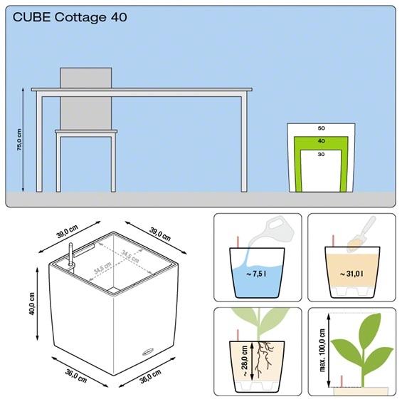 Plantenbak Lechuza Cube Cottage 40 All-in-one set