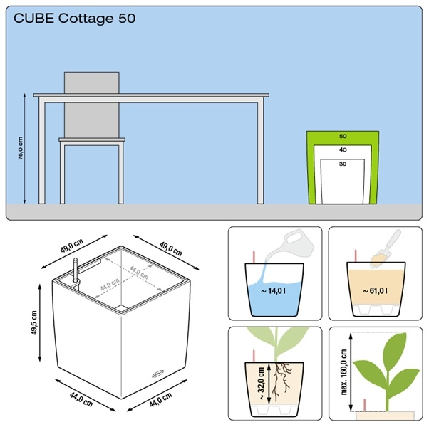 Plantenbak Lechuza Cube Cottage 50 All-in-one set