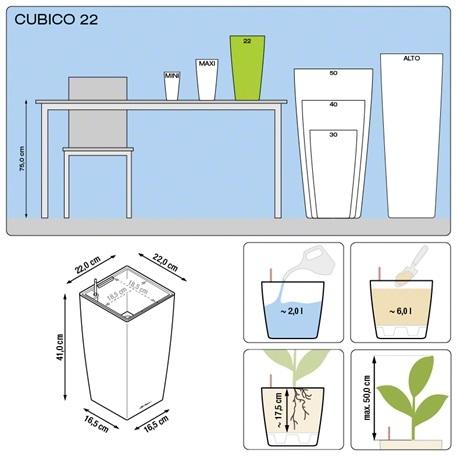 Plantenbak Lechuza Cubico 22 All-in-one set diverse kleuren