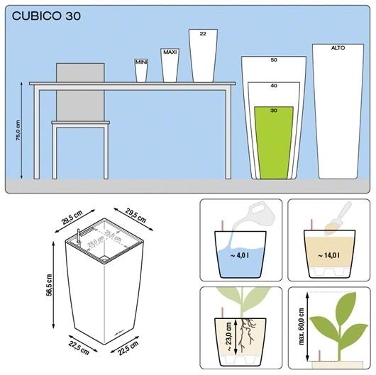 Plantenbak Lechuza Cubico 30 All-in-one set diverse kleuren