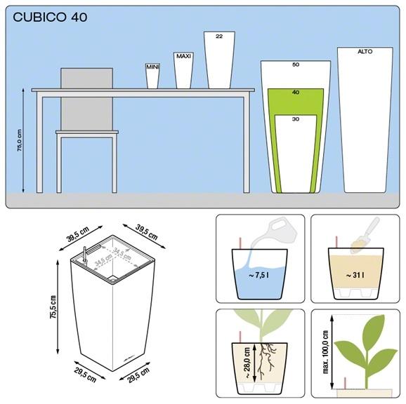 Plantenbak Lechuza Cubico 40 All-in-one set  diverse kleuren
