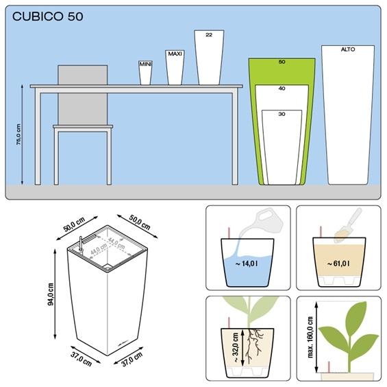 Plantenbak Lechuza Cubico 50 All-in-one set  diverse kleuren