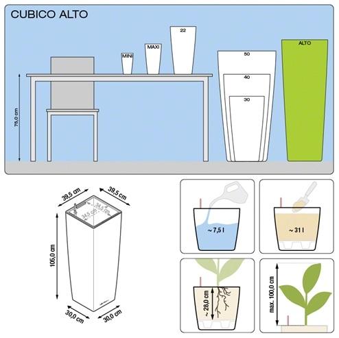 Plantenbak Lechuza Cubico Alto All-in-one in diverse kleuren