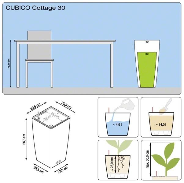 Plantenbak Lechuza Cubico Cottage 30 All-in-one set