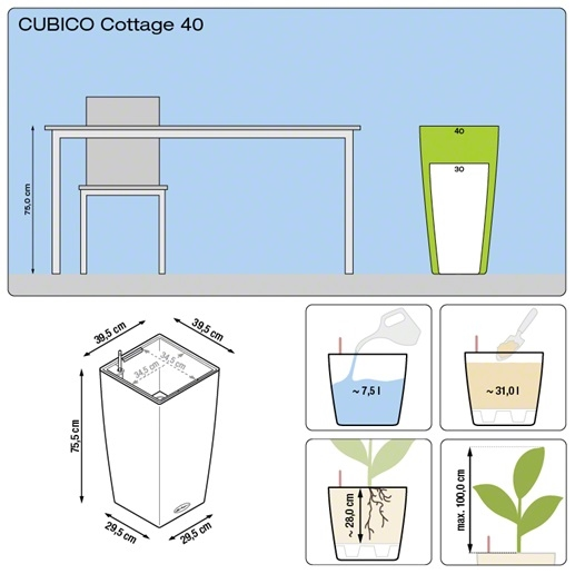 Plantenbak Lechuza Cubico Cottage 40 All-in-one set