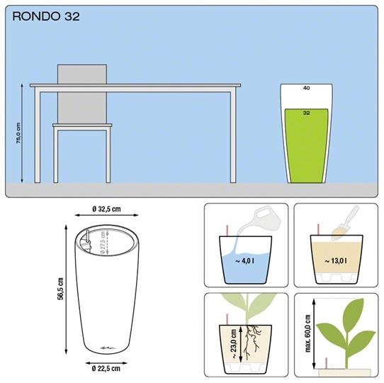 Plantenbak Lechuza Rondo 32 diverse kleuren All-in-one set