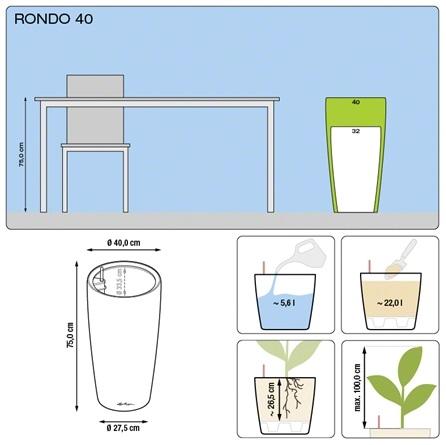 Plantenbak Lechuza Rondo 40 diverse kleuren All-in-one set