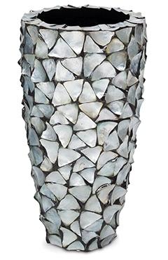 Plantenbak Shell Mother of Pearl silver blue in 2 afmetingen