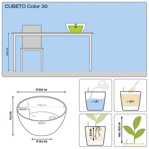 Plantenschaal Lechuza Cubeto color 30 All-in-one set