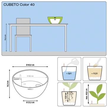 Plantenschaal Lechuza Cubeto color 40 All-in-one set