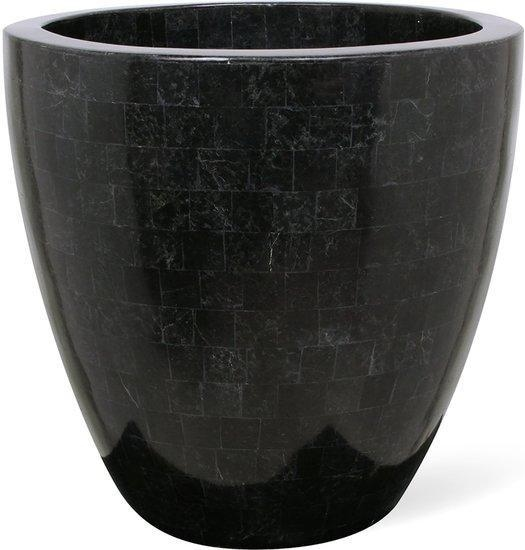 Plantenschaal ovaal Geo black polished