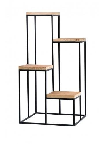 Presentatie tafel zwart metaal met natuurlijk hout