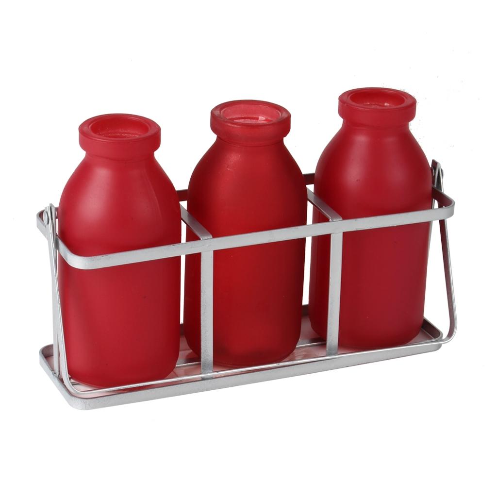 Rekje van metaal met 3 rode flesjes van glas