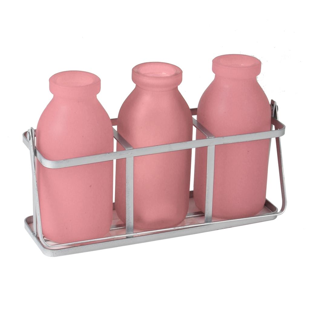 Rekje van metaal met 3 roze flesjes van glas