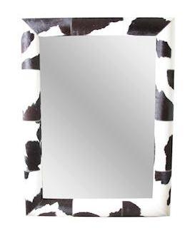 Spiegel Pau van hout met koe motief zwart MAR10