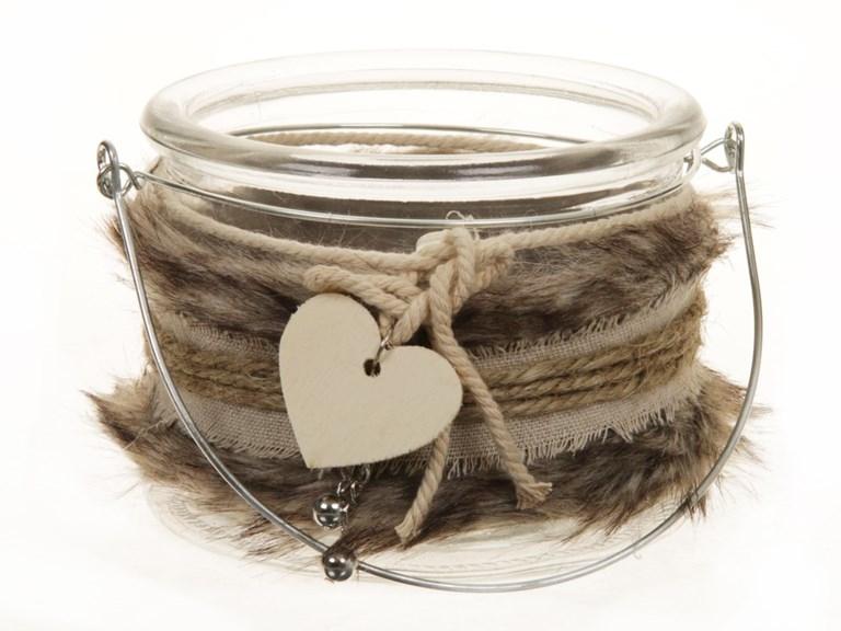 Tea light holder van glas Fur bruin