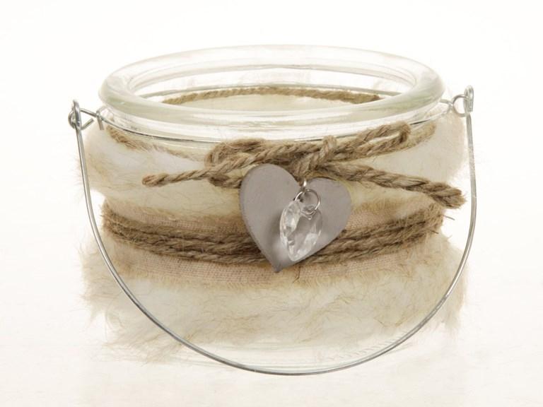 Tea light holder van glas Fur wit