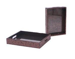 Tray Odessa metallic koper leer MAR10