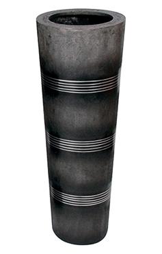 Vaas Cosmos zwart met allumninium ribbels in 2 afmetingen