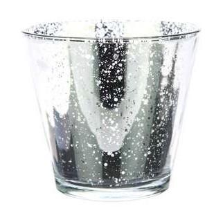 Waxine houder van glas Calais antiek zilver