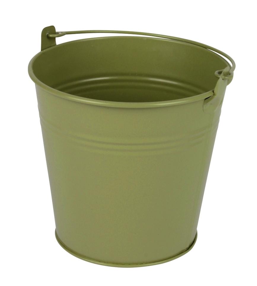 Zinken emmertje groen mat Ø 11,7 cm