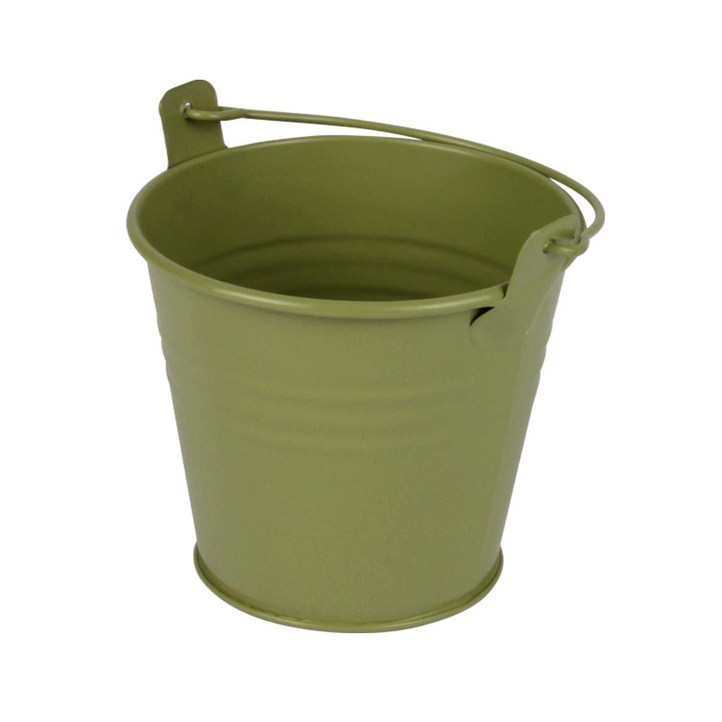 Zinken emmertje groen mat Ø 8,2 cm