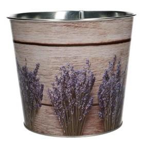 Zinken pot met lavendel print hout motief
